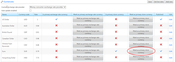 nopCommerce Primary Store Currency Setting